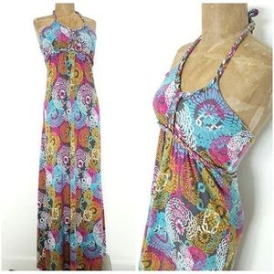 Soybu Maxi Festival Halter Floral Dress Summer M